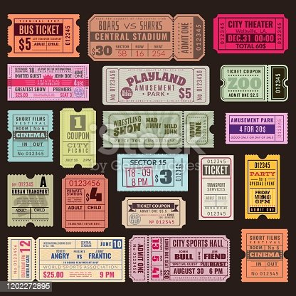 Cinema or theater ticket set. Vintage invite tickets with stamp, retro voucher for museum or concert event isolated realistic vector design