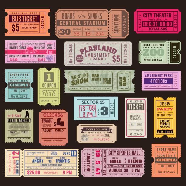 illustrazioni stock, clip art, cartoni animati e icone di tendenza di biglietti d'epoca. biglietto mano circo, cinema e festa concerto vecchio voucher di carta viaggio crociera lotteria coupon. set di modelli vettoriali - concerto