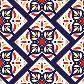 Vintage tile pattern vector seamless with mosaic print. Flowers ceramic motif texture. Puebla majolica background