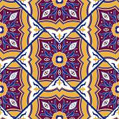 Vintage tile pattern vector seamless with mosaic print. Flowers ceramic motif texture. Deruta majolica background