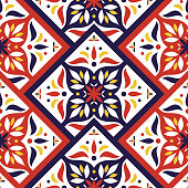 Vintage tile pattern vector seamless with mosaic print. Flowers ceramic motif texture. Mexico majolica background