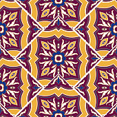 Vintage tile pattern vector seamless with mosaic print. Flowers ceramic motif texture. Spain majolica background for kitchen floor or bathroom floor wall.