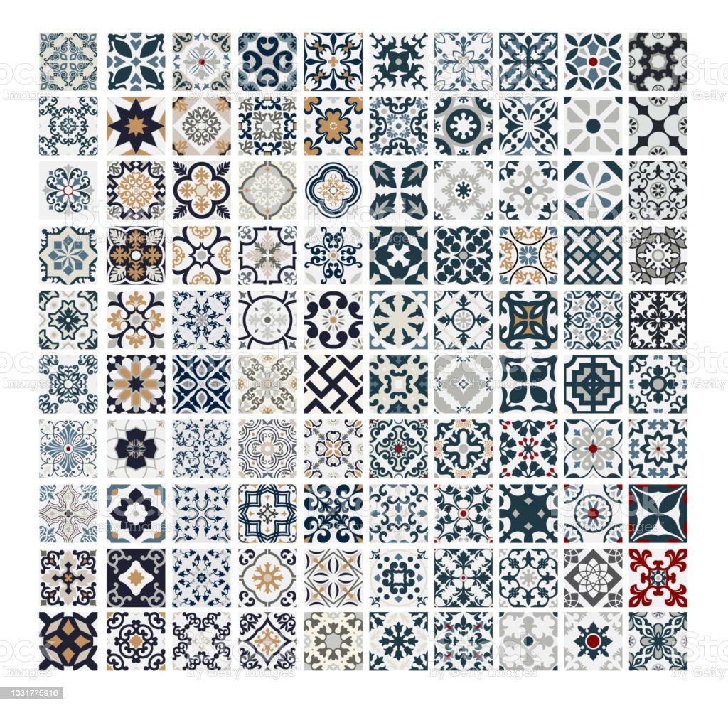 Vintage Fliesen Portugiesische Muster Antik Nahtloses Design In