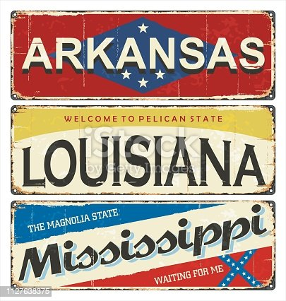 Vintage tin sign collection with America state. Arkansas. Louisiana. Mississippi. Retro souvenirs or postcard templates on rust background. American flag. Stars.