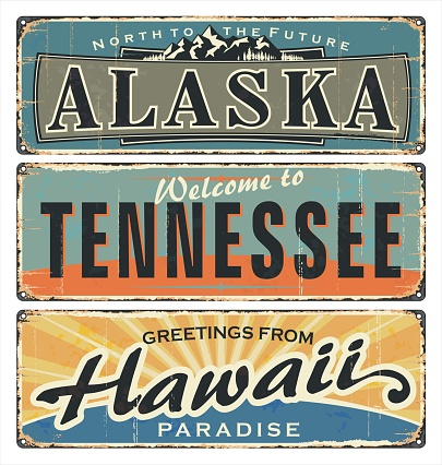 Vintage tin sign collection with US. All States. Alaska. Tennessee. Hawaii. Retro souvenirs.