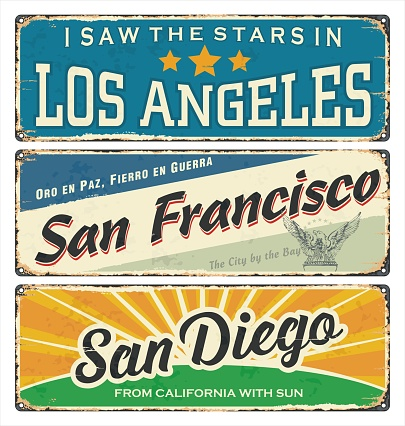 Vintage tin sign collection with US cities. Los Angeles. San Francisco. San Diego. Retro souvenirs or postcard templates on vintage background. California. America.