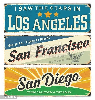 Vintage tin sign collection with USA cities. Los Angeles. San Francisco. San Diego. Retro souvenirs or postcard templates on vintage background.