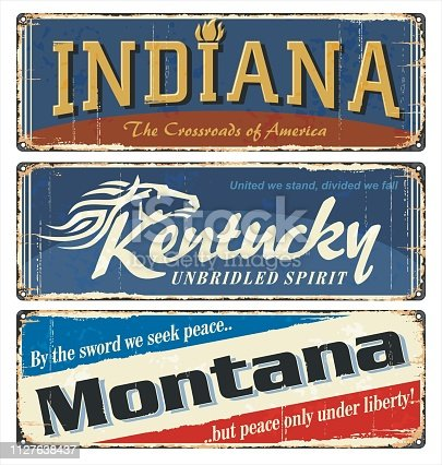 Vintage tin sign collection with US. Indiana. Kentucky. Montana. Retro souvenirs or old paper postcard templates on rust background.
