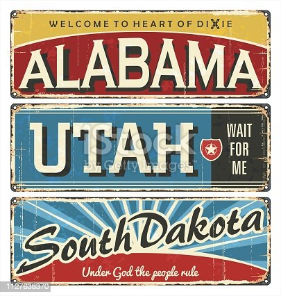 Vintage tin sign collection with USA cities.