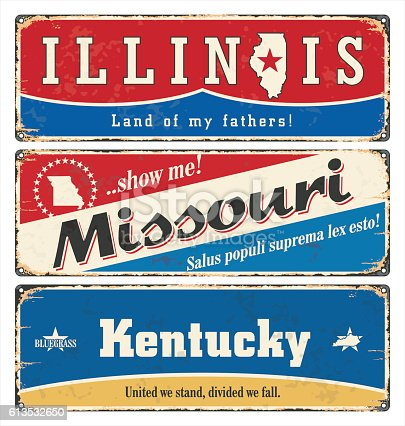 Vintage tin sign with USA state.