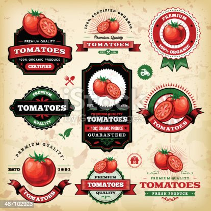 A collection of vintage styled tomato labels. EPS 10 file, layered & grouped, with meshes and transparencies (shadows & overall effects only).