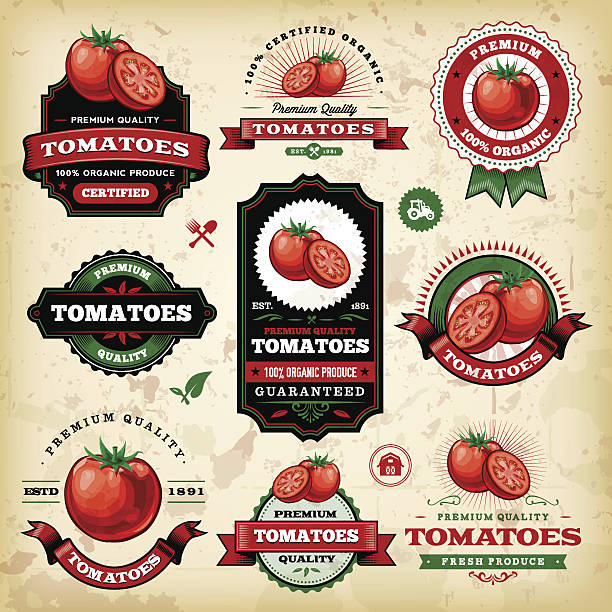 Vintage Tomato Labels A collection of vintage styled tomato labels. EPS 10 file, layered & grouped, with meshes and transparencies (shadows & overall effects only). tomato stock illustrations