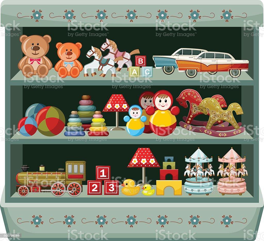 Vintage Zabawki Sklepie Półki Tm - Stockowe grafiki wektorowe i ...