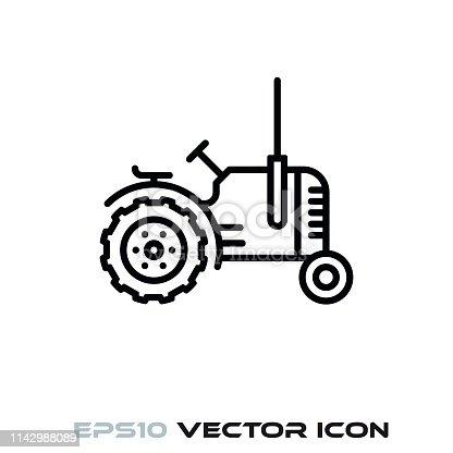 Vintage tractor flat line icon vector illustration