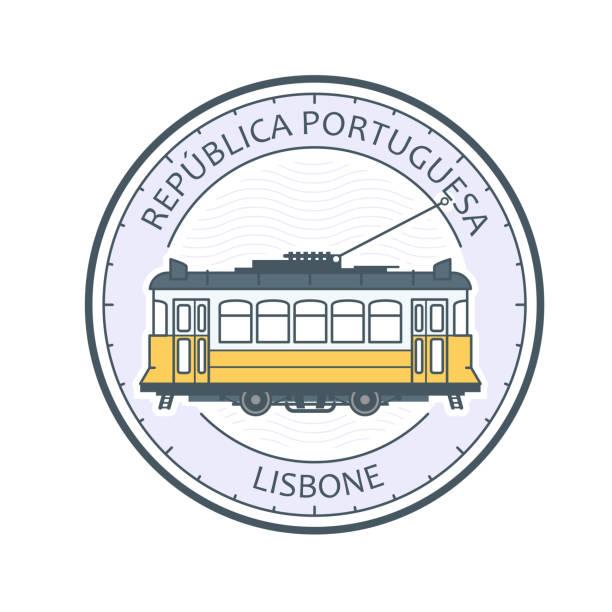 zabytkowy tramwaj lizbony - symbol, portugalia, tramwaj w lizbonie godło - lizbona stock illustrations
