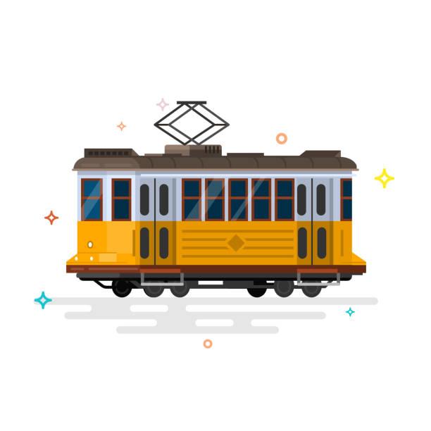 ilustrações de stock, clip art, desenhos animados e ícones de vintage tram. retro tram. detailed tram. side view tram. - eletrico lisboa