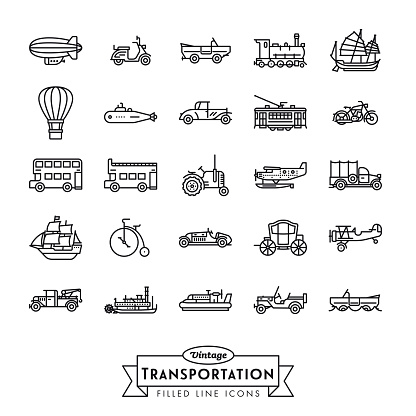 Vintage transportation line icons collection