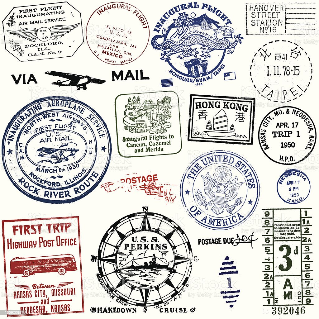 Vintage Travel And Postage Stamps Stock Vector Art Amp More