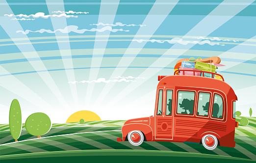 Easy editable  vintage travel bus vector...