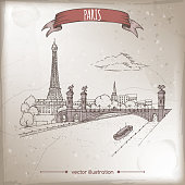 Vintage travel illustration with Eiffel tower and Pont Alexandre bridge in Paris, France. Hand drawn sketch. Great for coffee, restaurant, cafe ads, travel brochures, labels.