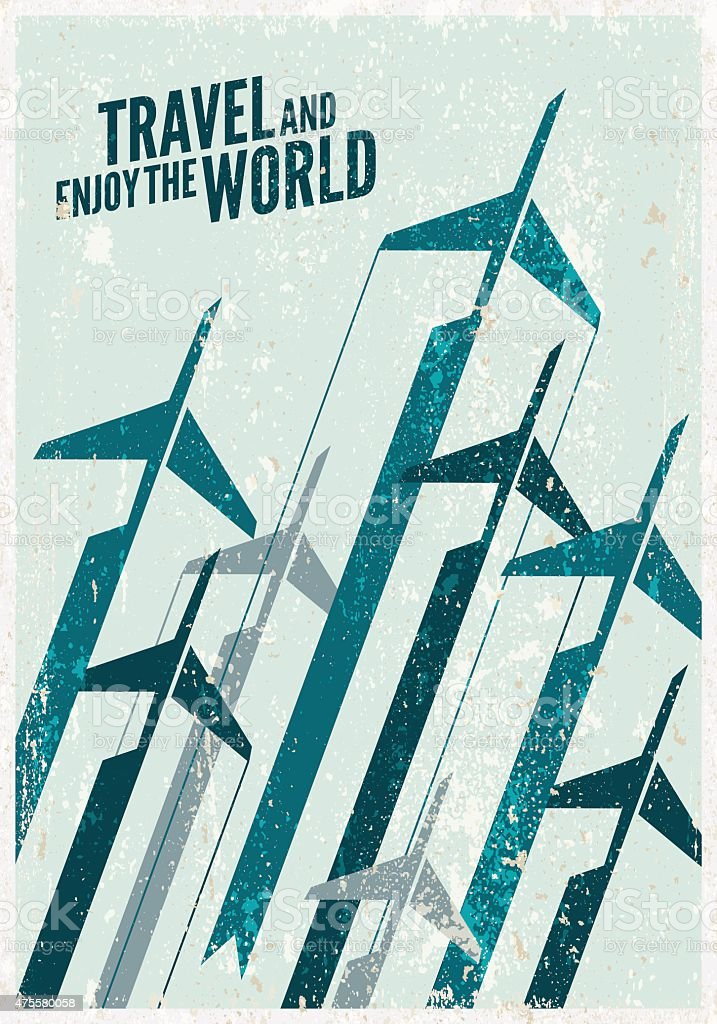 Vintage Travel Poster Stylized Airplane Illustration Composition Royalty Free