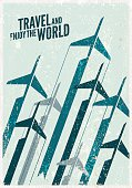 Vintage Travel poster. Stylized airplane illustration composition.
