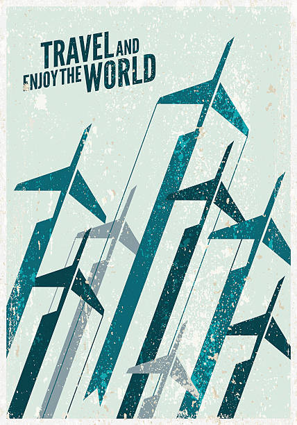 Vintage Travel poster. Stylized airplane illustration composition. Texture effects can be turned off. aviation and environment summit stock illustrations
