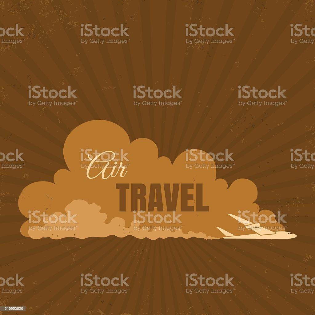 Cartel Vintage de viaje en avión - ilustración de arte vectorial