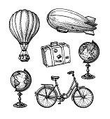 istock Vintage travel set. 1280764807