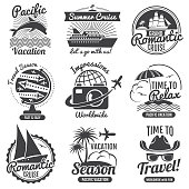 Vintage travel vector icon set. Adventure and label romantic cruise illustration