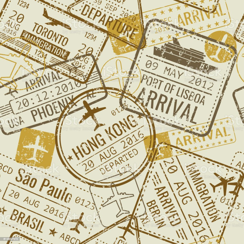 Vintage travel visa passport stamps vector seamless background - ilustración de arte vectorial