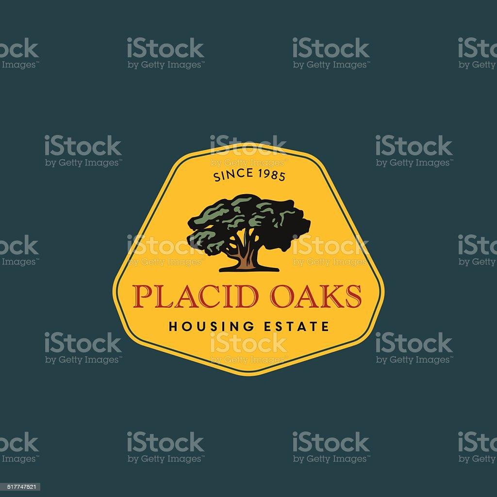 Vintage Tree badge, Symbol, logo vector art illustration