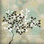 Sakura tree silhouette on vintage background.