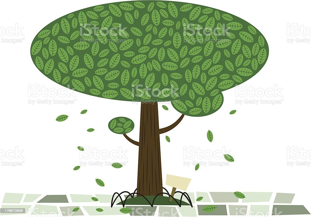 Vintage Tree with sign royalty-free vintage tree with sign stock vector art & more images of branch - plant part
