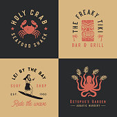 Set of 4 tropical hand drawn illustrations in a timeless style.