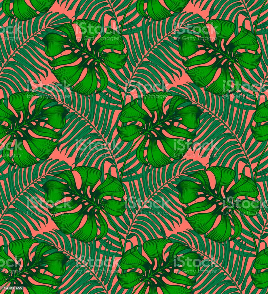 Vintage Tropical Seamless Pattern Tropic Repeating Background Jungle