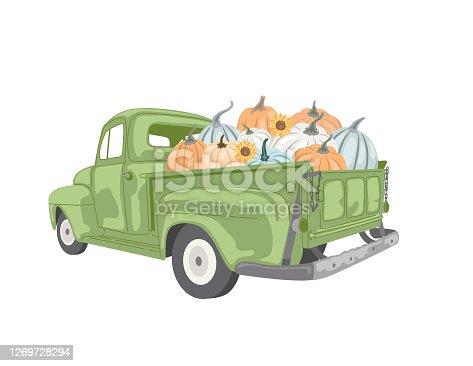 Vintage Truck Filled with Pumpkins