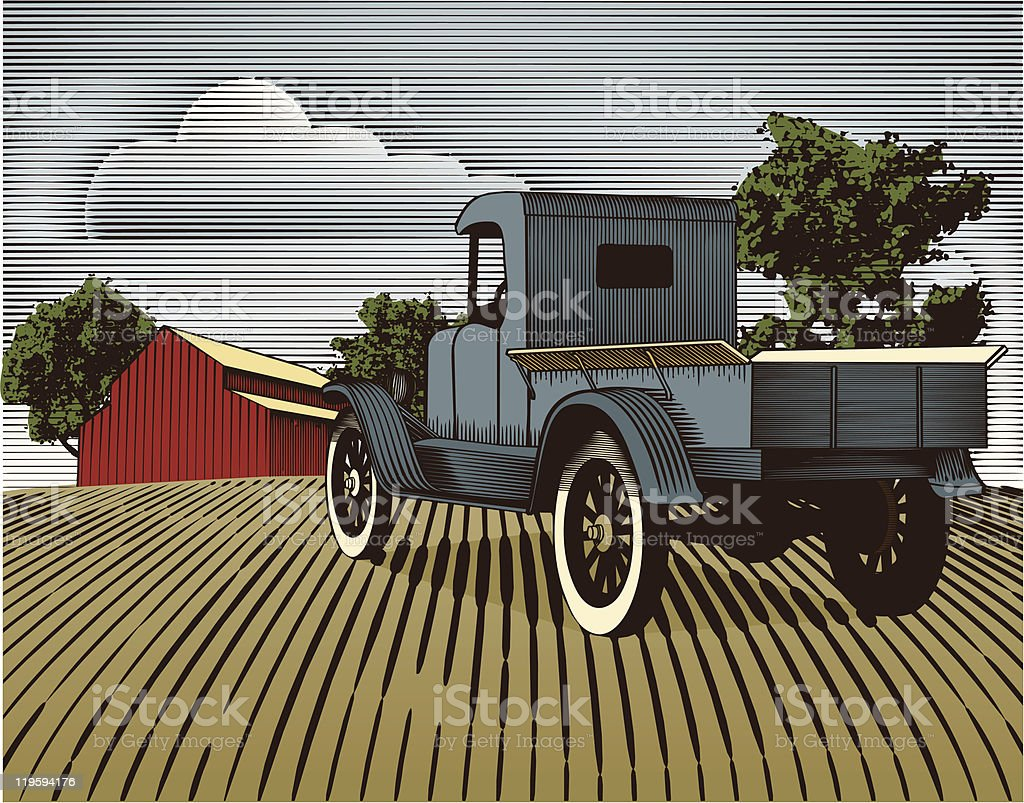 Vintage Truck Scene Color royalty-free vintage truck scene color stock vector art & more images of agriculture