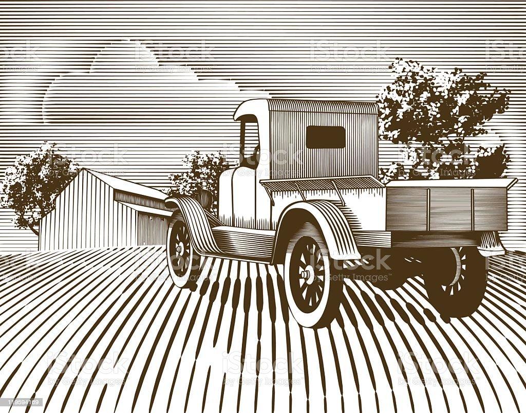 Vintage Truck Scene royalty-free stock vector art