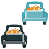 Illustration of black and blue retro truck rear with pumpkins in back
