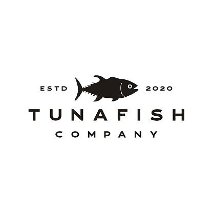Vintage Tuna fish silhouette - vector icon stock illustration Indonesia, Black And White, Fish, Acid, Albacore Tuna, Logo