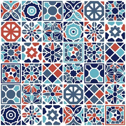 Vintage Turkish Ceramic Seamless Pattern