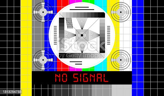 istock Vintage TV test pattern with caption no signal, offline, disturbance,error sign,vector, website down error message,vector 1313254733
