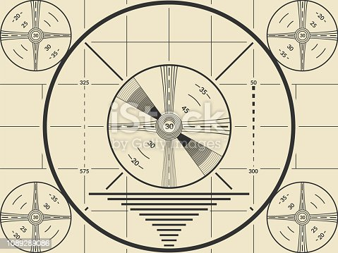 Vintage tv test screen pattern for television calibration