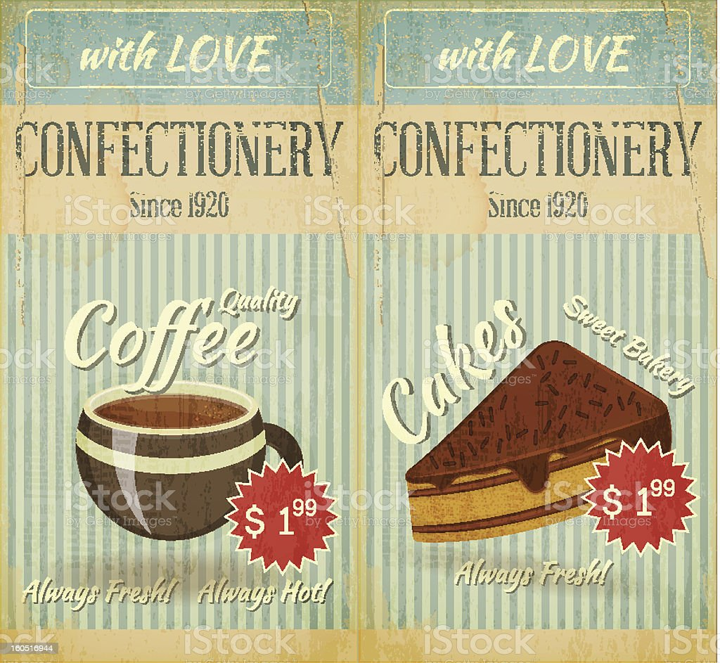 Vintage two Cards Cafe confectionery dessert Menu vector art illustration