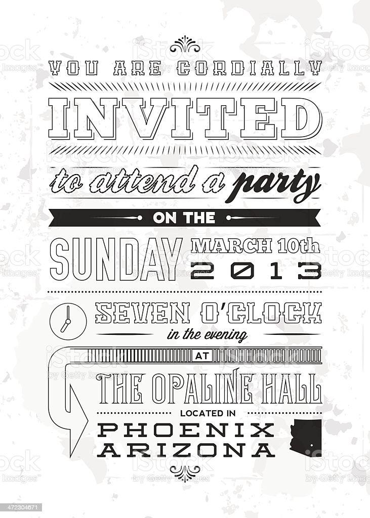 Vintage Typescript Invitation royalty-free stock vector art