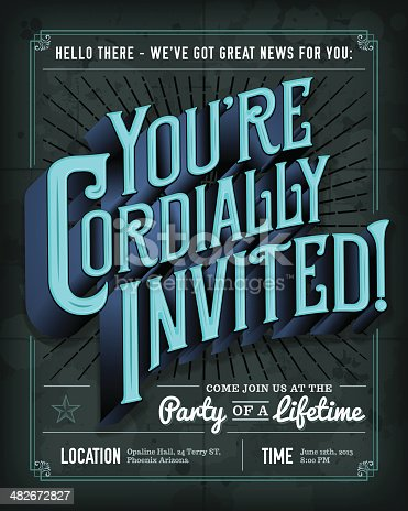 An vintage invitation template. EPS 10 file, with transparencies, layered & grouped.