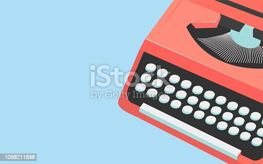 Vintage typewriter header or banner template for writers, copywiters and journalists. Story Typewriter copyspace element.
