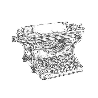Vintage typewriter machine with paper and keyboard