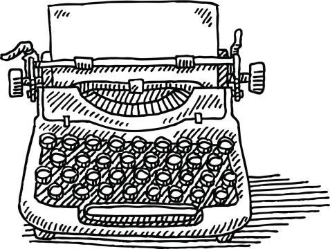 Vintage Typewriter Paper Drawing